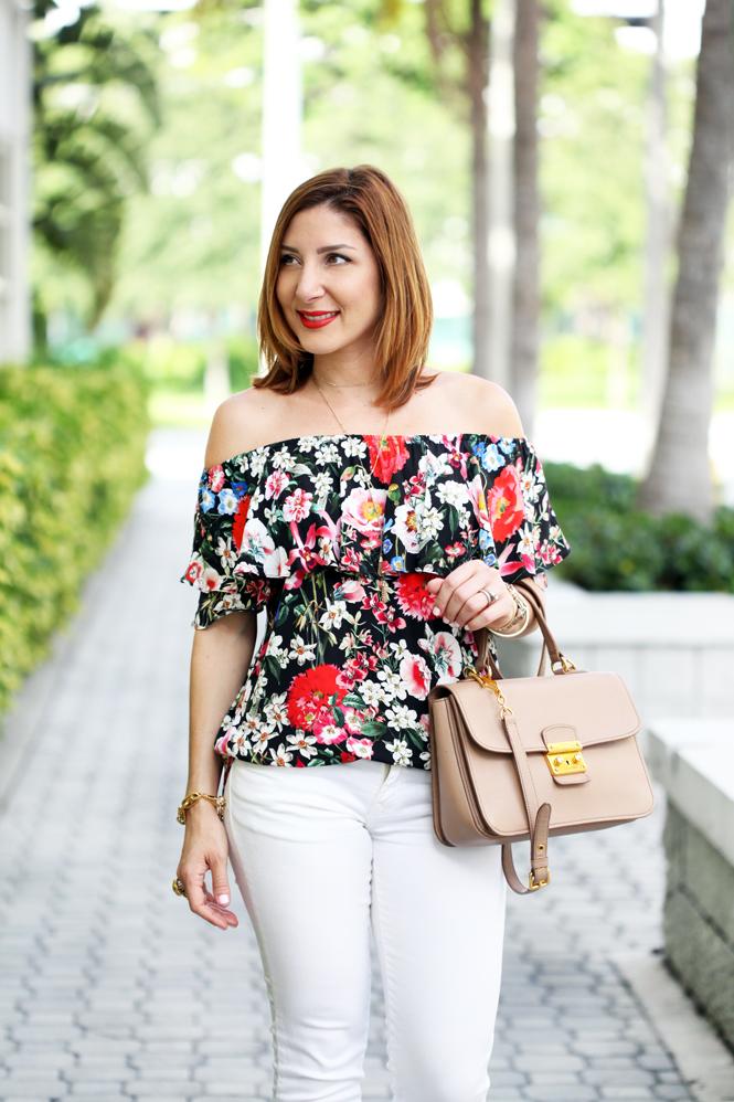 Blame-it-on-Mei-Miami-Fashion-Blogger-2016-Summer-Outfit-Floral-Off-The-Shoulder-Top-White-Denim-Jeans-Aquazzura-Wild-Thing-Tassel-Sandals-Red-Blush-Miu-Miu-Handbag