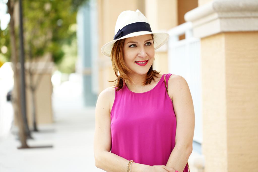 Blame-it-on-Mei-Miami-Fashion-Blogger-2016-Summer-Outfit-Pink-Shift-Dress-Valentino-Rockstud-Sandals-Chloe-Drew-Leopard-Clutch-Tassel-Earrings-Panama-Hat