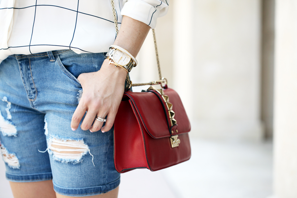 Blame-it-on-Mei-Miami-Fashion-Blogger-2016-Summer-Outfit-Neck-Scarf-Grid-Blouse-Ripped-Shorts-Chanel-Espadrilles-Valentino-Glam-Lock-Rockstud-Handbag-Hermes-Clic-Clac-H