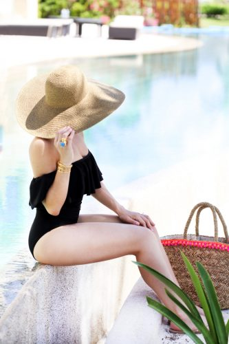 Blame-it-on-Mei-Miami-Fashion-Blogger-2016-Summer-Look-Off-The-Shoulder-Swimsuit-Black-Animal-Print-Cover-Up-Floppy-Beach-Hat-Secrets-Maroma-Riviera-Maya
