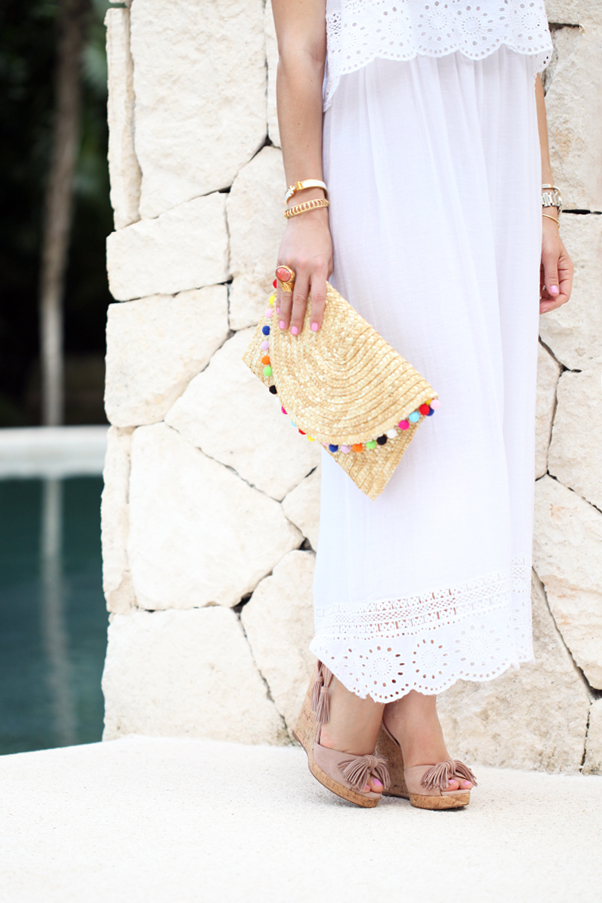 Blame-it-on-Mei-Miami-Fashion-Blogger-2016-Summer-Look-Tiered-Embroidered-Long-White-Linen-Dress-Pom-Pom-Straw-Clutch-Tassel-Wedges-Secrets-Maroma-Riviera-Maya
