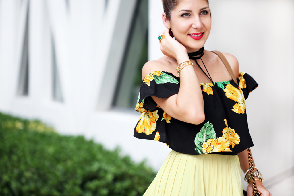 Blame-it-on-Mei-Miami-Fashion-Blogger-Swim-Week-2016-Summer-Look-Chiffon-Yellow-Midi-Skirt-Choker-With-Floral-Off-The-Shoulder-Strap-Heel-Sandals-Chanel-Boy