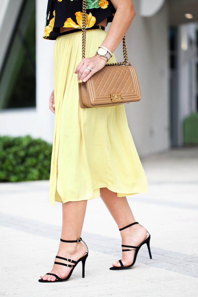 Blame-it-on-Mei-Miami-Fashion-Blogger-Swim-Week-2016-Summer-Look-Chiffon-Yellow-Midi-Skirt-Choker-With-Floral-Off-The-Shoulder-Strap-Heel-Sandals-Chanel-Boy
