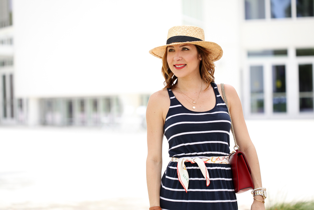 Blame-it-on-Mei-Miami-Fashion-Blogger-2016-Summer-Outfit-Stripe-Maxi-Dress-4-July-Inspired-Look-Panama-Hat-Valentino-Rockstud-Red-Handbag-Scarf-As-Belt