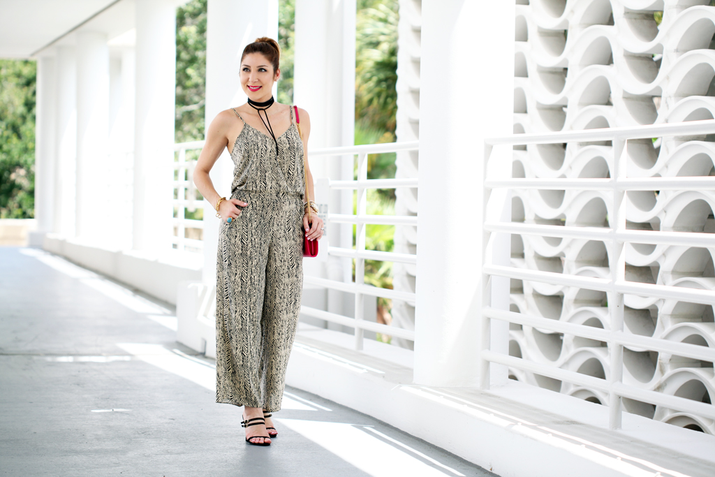 Blame-it-on-Mei-Miami-Fashion-Blogger-2016-Summer-Outfit-Printed-Jumpsuit-YSL-Hot-Pink-Clucth-Strap-Wrap-Around-Sandals-Baublebar-Lariat-Choker-YSL-Arty-Ring