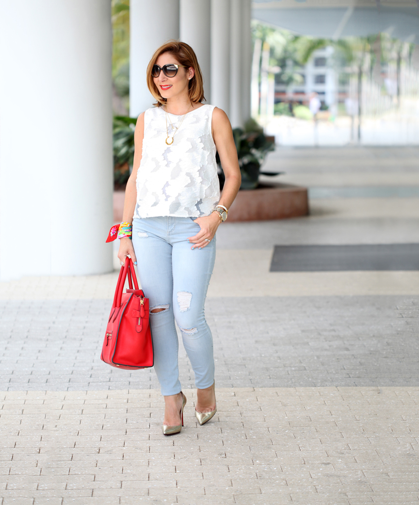 Blame-it-on-Mei-Miami-Fashion-Blogger-2016-Nordstrom-Sale-#Nsale-Lace-Top-Light-Wash-Jeans-Summer-Look-Stella-&-Dot-Luna-Double-Horn-Pendant-Celine-Luggage-Red-Louboutin-Gold-Scarf-As-Bracelet