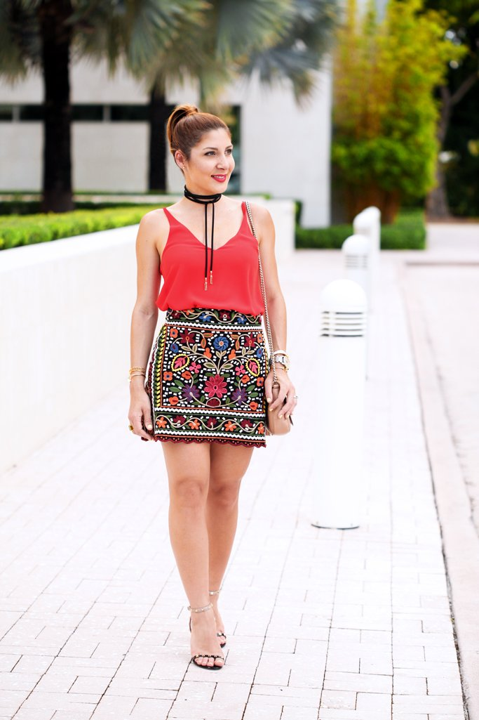 Blame-it-on-Mei-Miami-Fashion-Blogger-Swim-Week-2016-Summer-Look-Embroidered-Floral-Mini-Skirt-Choker-Valentino-Rockstud-Sandals-Hermes-H-bracelet-Gucci-Soho-Crossbody