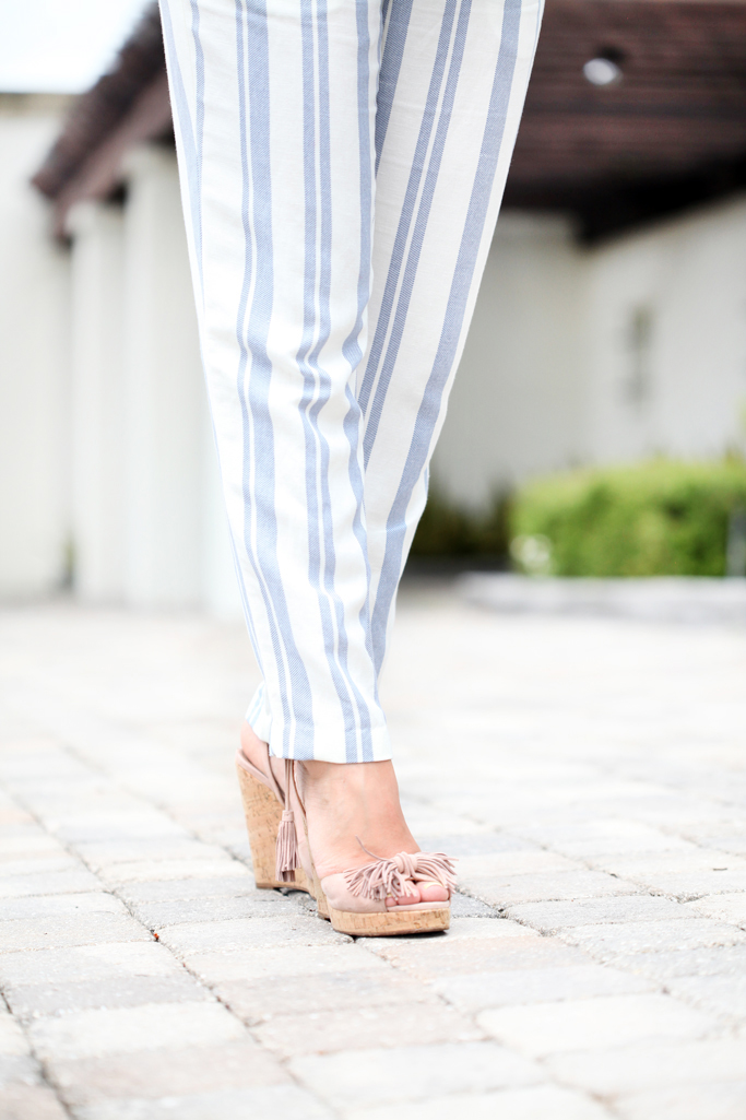 Blame-it-on-Mei-Miami-Fashion-Blogger-2016-Strapless-Stripe-Jumpsuit-Summer-Look-Casual-Outfit-Soft-Waves-on-Short-Hair-Tassel-Wedges-Miu-Miu-Envelope-Clutch-Geranium-Earrings