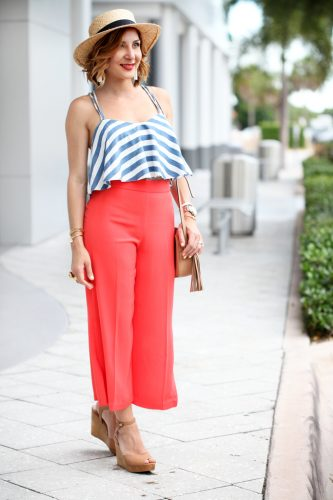 Blame-it-on-Mei-Miami-Fashion-Blogger-2016-Stripe-Crop-Top-Summer-Look-Culottes-in-Hot-Orange-Waves-on-Short-Hair-Wedges-Boaters-Straw-Hat-Baublebar-Tassel-Earrings-Gucci-Soho-Disco