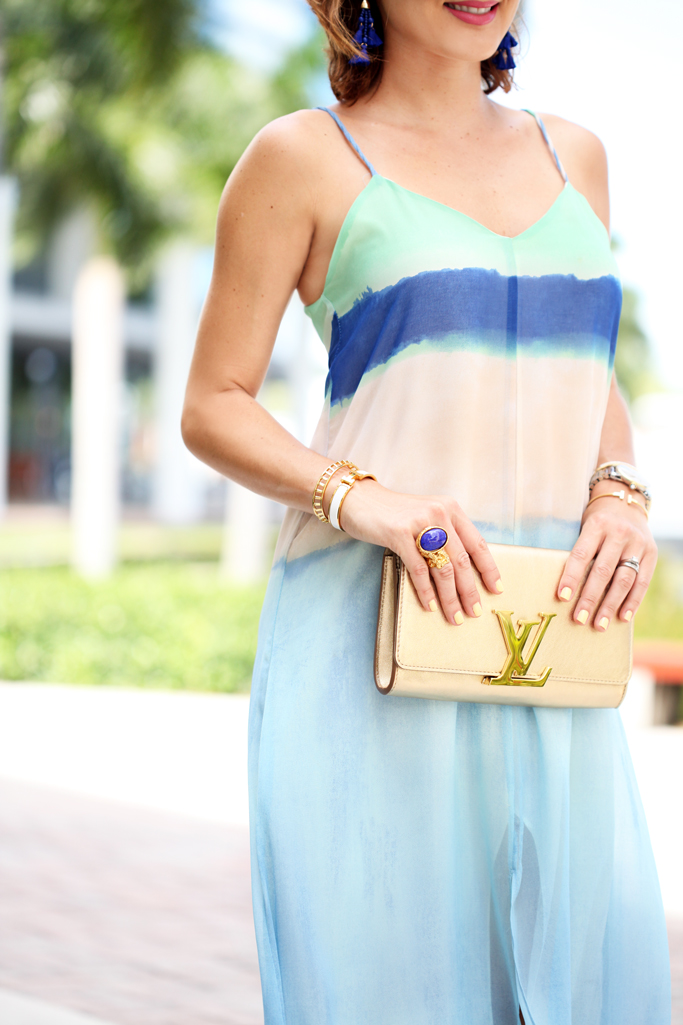 Blame-it-on-Mei-Miami-Fashion-Blogger-2016-Watercolor-Dress-Gold-LV-Louise-Clutch-Summer-Look-Baublebar-Tassel-Earrings-Gucci-Soho-Disco-Steve-Madden-Stecy-Sandal