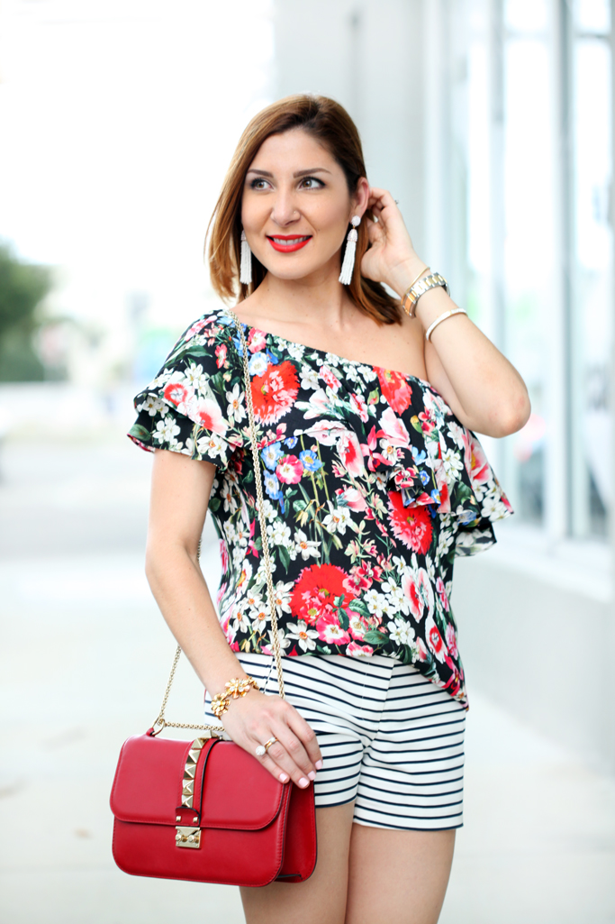Blame-it-on-Mei-Miami-Fashion-Blogger-2016-Floral-One-Shoulder-Top-with-Striped-Shorts-Casual-Outfit-Summer-Look-Baublebar-Pinata-Tassels-Valentino-Rockstuds-sandals-crossbody