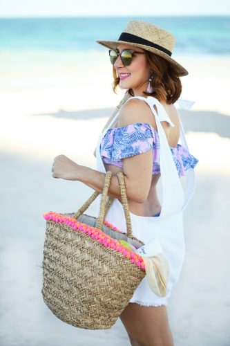 Blame-it-on-Mei-Miami-Fashion-Beauty-Blogger-2016-Dove-Dove Advanced Care Antiperspirant Deoderant-Beach-Look-Swimsuit-Outfit-Off-The-Shoulder-Bikini-Bathing-Suit-Pom-Beach-Bag-Tassel-Earrings