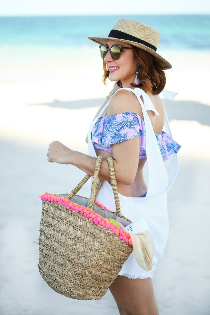 Blame-it-on-Mei-Miami-Fashion-Beauty-Blogger-2016-Dove-Advance-Care-Antiperspirant-Deoderant-Beach-Look-Swimsuit-Outfit-Off-The-Shoulder-Bikini-Bathing-Suit-Pom-Beach-Bag-Tassel-Earrings