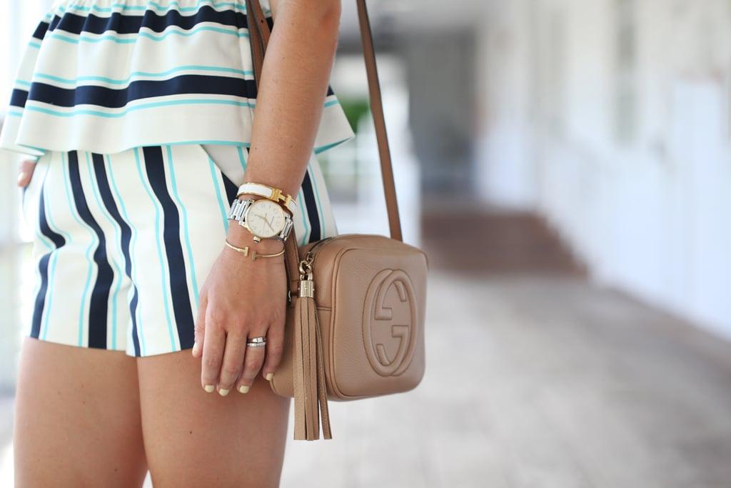 Blame-it-on-Mei-Miami-Fashion-Blogger-Swim-Week-2016-Summer-Look-Striped-Set-Peplum-with-Shorts-Choker-Hermes-H-Bracelet-Gucci-Soho-Crossbody