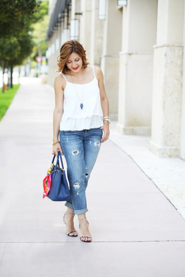 Blame-it-on-Mei-Miami-Fashion-Blogger-2016-White-Linen-Cami-Casual-Outfit-Summer-Look-Boyfriend-Jeans-Prada-Handbag-Rocksbox-Necklace-Valentino-Rockstud-Sandal-Soft-Waves-Short-Hair