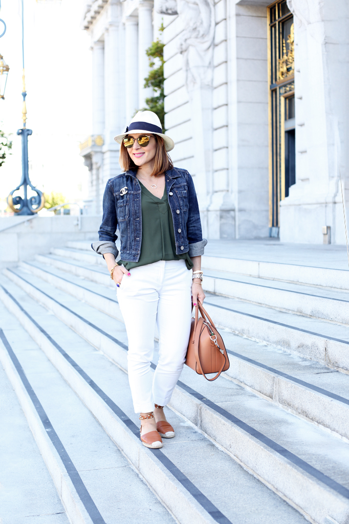Blame-it-on-Mei-Miami-Fashion-Travel-Blogger-San-Francisco-2016-Summer-Look-White-Trousers-with-Denim-Jacket-Chanel-Pin-Givenchy-Antigona-Caramel-Panama-Hat-Valentino-Rockstud-Espadrille