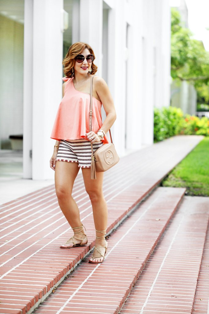 Blame-it-on-Mei-Miami-Fashion-Blogger-2016-Stripe-Shorts-One-Shoulder-Top-Lace-Up-Sandals-Steve-Maden-WerkIt-Round-Sunglasses-Gucci-Soho-Summer-Outfit-Casual-Look