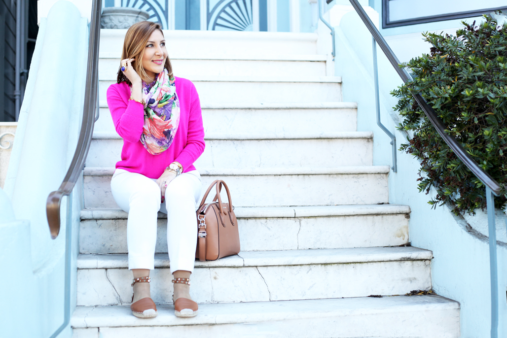 Blame-it-on-Mei-Miami-Fashion-Travel-Blogger-San-Francisco-Painted-Ladies-2016-Travel-Look-White-Pants-Givenchy-Antigona-Valentino-Rockstud-Espadrille-Floral-Scarf-Fuschia-Sweater
