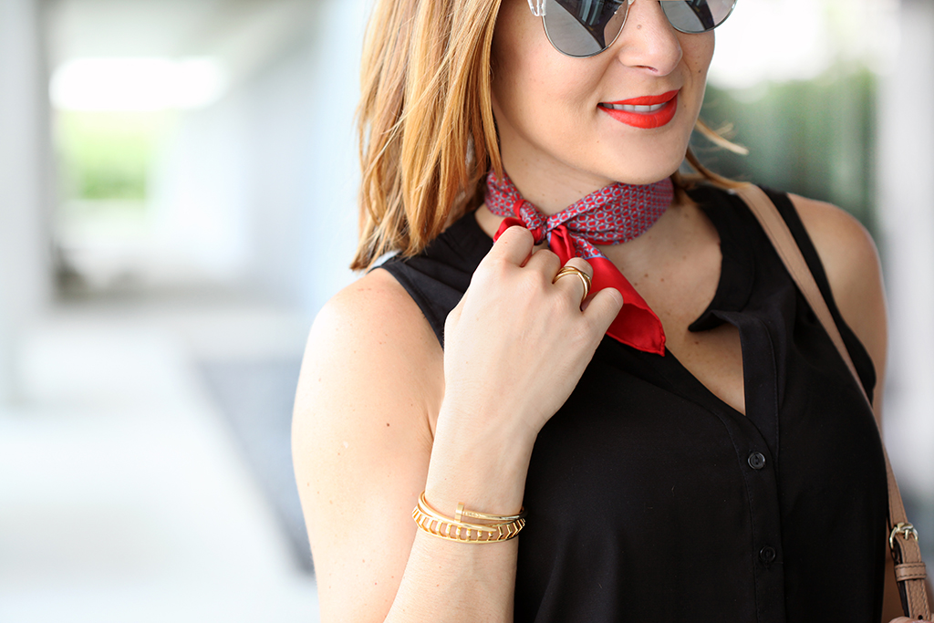 blame-it-on-mei-miami-fashion-blogger-2016-u-by-kotex-power-to-the-#periodprojects-dosomething.org-black-romper-neck-scarf-gucci-soho-chanel-espadrilles-quay-avalon-casual-look-comfortable-outfit