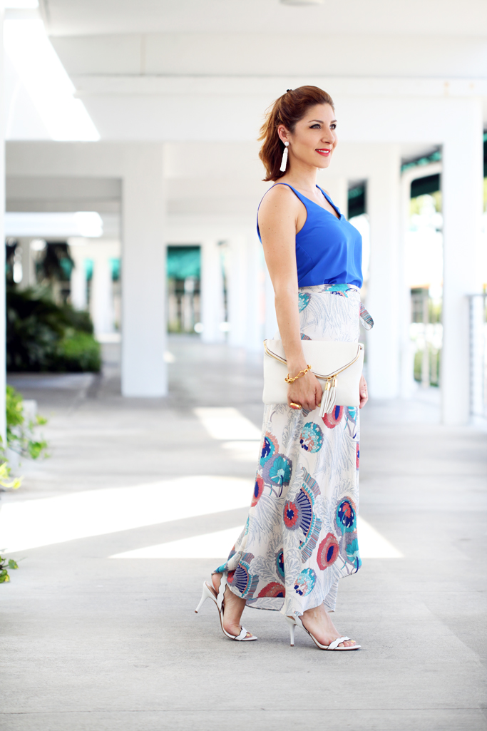 9-26-16-blame-it-on-mei-miami-fashion-blogger-2016-floral-long-maxi-skirt-bright-cami-top-baublebar-white-pinata-tassel-earrings-henri-bendel-debutante-clutch-transition-outfit-date-night-look-1