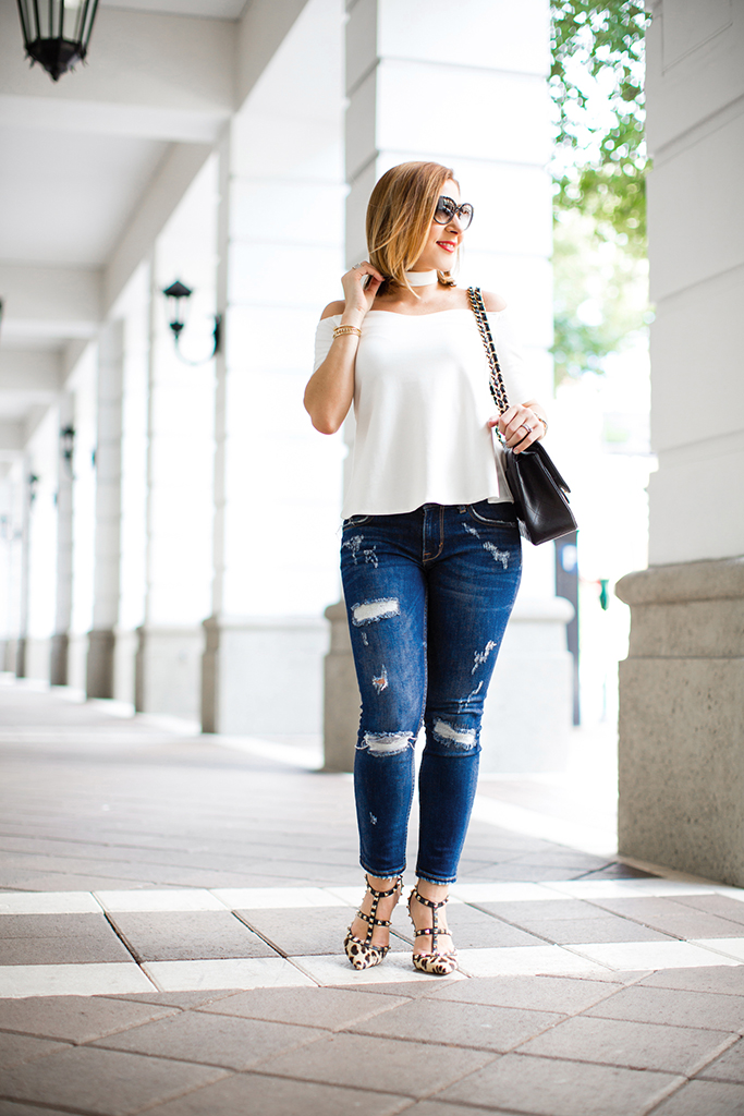 Blame-it-on-Mei-Miami-Fashion-Blogger-2016-Off-the-shoulder-top-with-choker-Denim-Blue-Jeans-Leopard-Valentino-Rockstud-Sandals-Chanel-Classic-Double-Flap