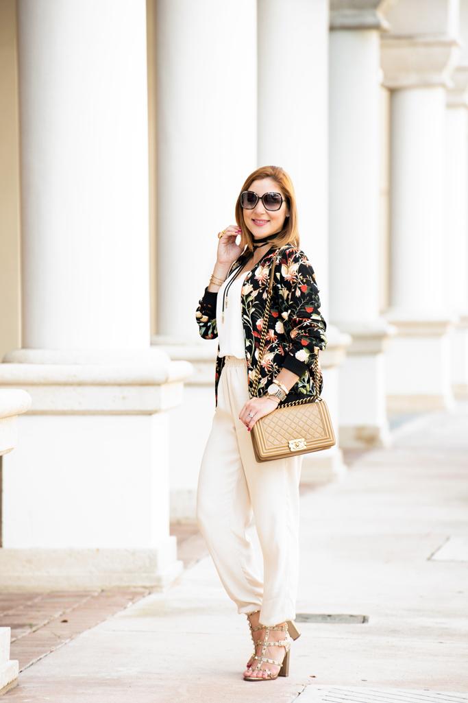 #WeAllGrow Miami: Floral Bomber Jacket + Metallic Sandals ...