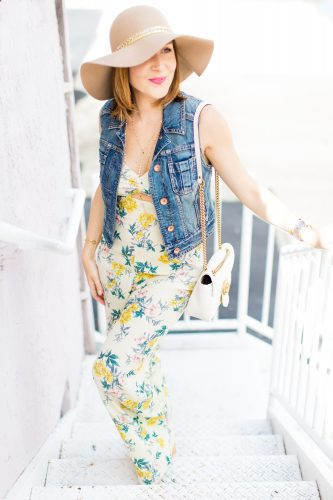 Blame-it-on-Mei-Miami-Fashion-Blogger-2016-Floral-Jumpsuit-Sleeveless-Denim-Vest-Floppy-Hat-Festival-Inspo-Summer-Look-Casual-Look-Gucci-Soho-Summer-Outft-Casual-Look-Gucci-Marmont-Matelasse