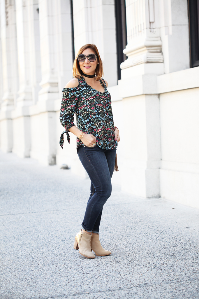 Blame-it-on-Mei-Miami-Fashion-Travel-Blogger-San-Francisco-2016-Floral-Cold-Shoulder-Top-Lauren-Conrad-with-Denim-Jeans-Ankle-Botties-Kohls-Everyday-Runway-Choker-Gucci-Soho