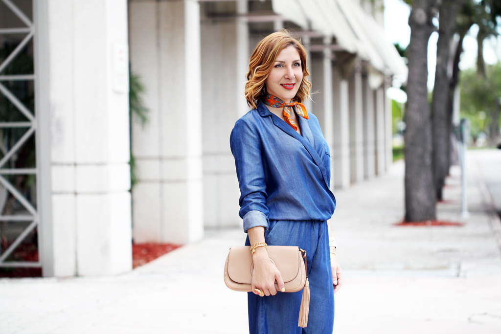 Blame-it-on-Mei-Miami-Fashion-Blogger-2016-Chambray-Denim-Jumpsuit-Fall-Outfit-Transiton-Look-Blush-Patent-Louboutin-So-Kate-Gucci-Soho-Neck-Scarf-Soft-Curls-Short-Hair