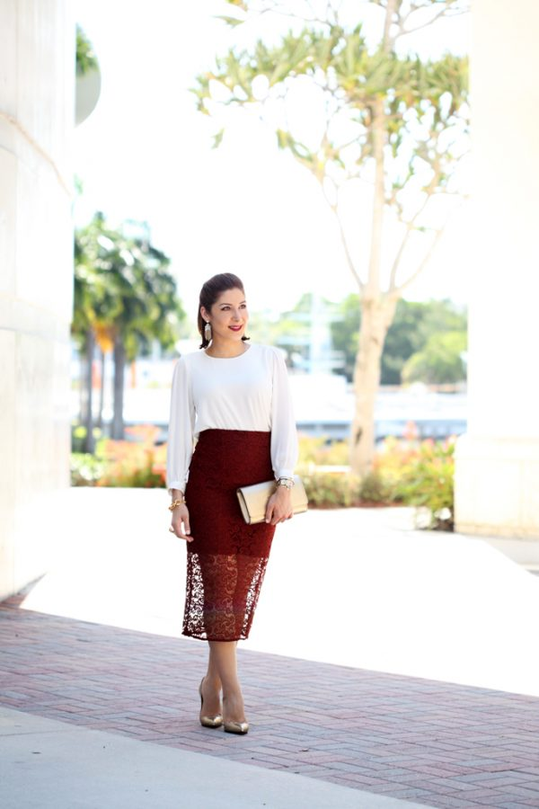Blame-it-on-Mei-Miami-Fashion-Blogger-2016-Lace-Burgundy-Pencil-Skirt-Wedding-Guest-Look-Special-Occasion-Outfit-Gold-Animal-Print-Louboutin-Heels-Vuitton-LV-Gold-Clutch-