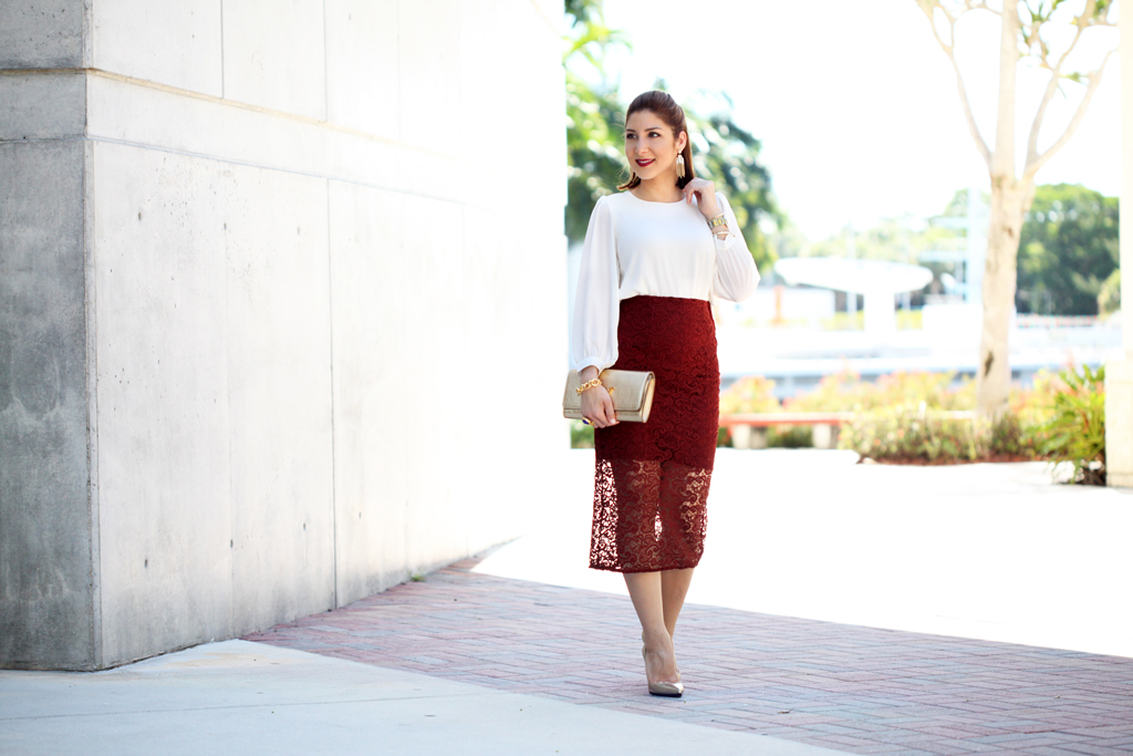 345477e829a Penciled Beauty  Burgundy Lace Skirt + Basic Blouse - Blame it on ...