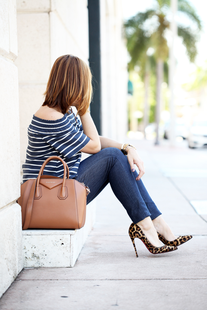 Blame-it-on-Mei-Miami-Fashion-Blogger-2016-Stripe-Off-The-Shoulder-Top-With-Denim-Summer-Look-Choker-Louboutin-Leopard-Heels-Givenchy-Antigoa-in-Congnac-Mixing-Prints-Styling-Patterns