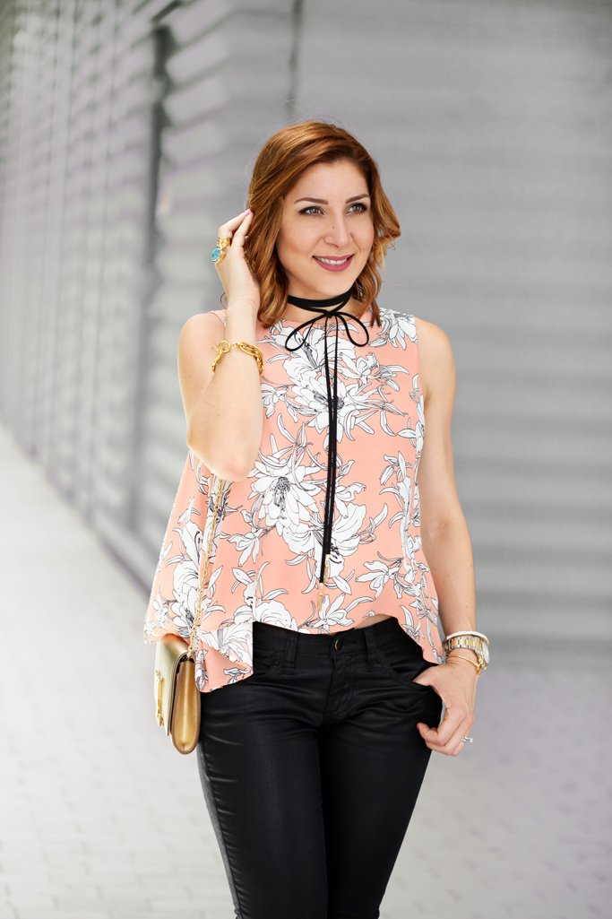 Blame-it-on-Mei-Miami-Fashion-Blogger-2016-Floral-Top-Summer-Look-Choker-Black-Coated-Denim-Waves-on-Short-Hair-Louboutin-Black-Patent-Iriza-Heels-Louis-Vuitton-LV-Gold-Clutch