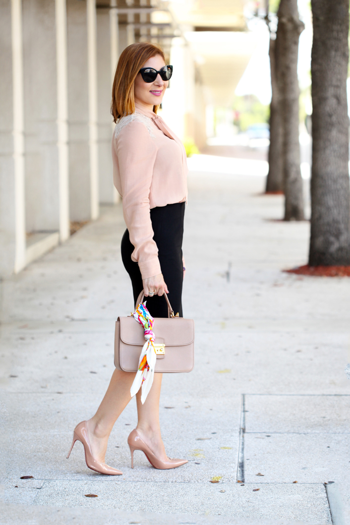 Blame-it-on-Mei-Miami-Fashion-Blogger-2016-Blush-Long-Sleeve-With-Bow-Blouse-Pencil-Skirt-Professional-Attire-Business-Outfit-Corportare-Office-Look-Louboutin