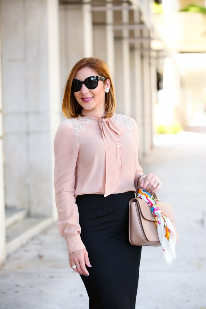 bow and lace blush blouse black pencil skirt   blame it