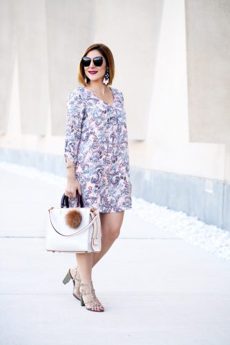Blame-it-on-Mei-Miami-Fashion-Blogger-2016-Floral-Shift-Dress-Long-Sleeve-Baublebar-Linette-Tassel-Coach-Rogue-MK-Key-Chain-Fur-Valentino-Rockstud-City-Sandal-Transition-to-Fall-Look