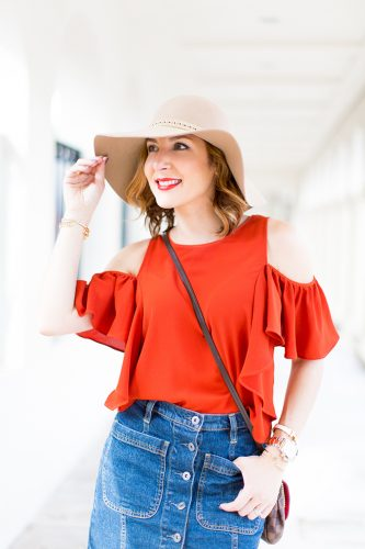 -Blame-it-on-Mei-Miami-Fashion-Blogger-2016-Cold-Shoulder-Top-Denim-Skirt-Floppy-Hat-Transition-To-Fall-Look-Casual-Outfit-LV-Favorite-PM-Valentino-City-Sandal-Metallic