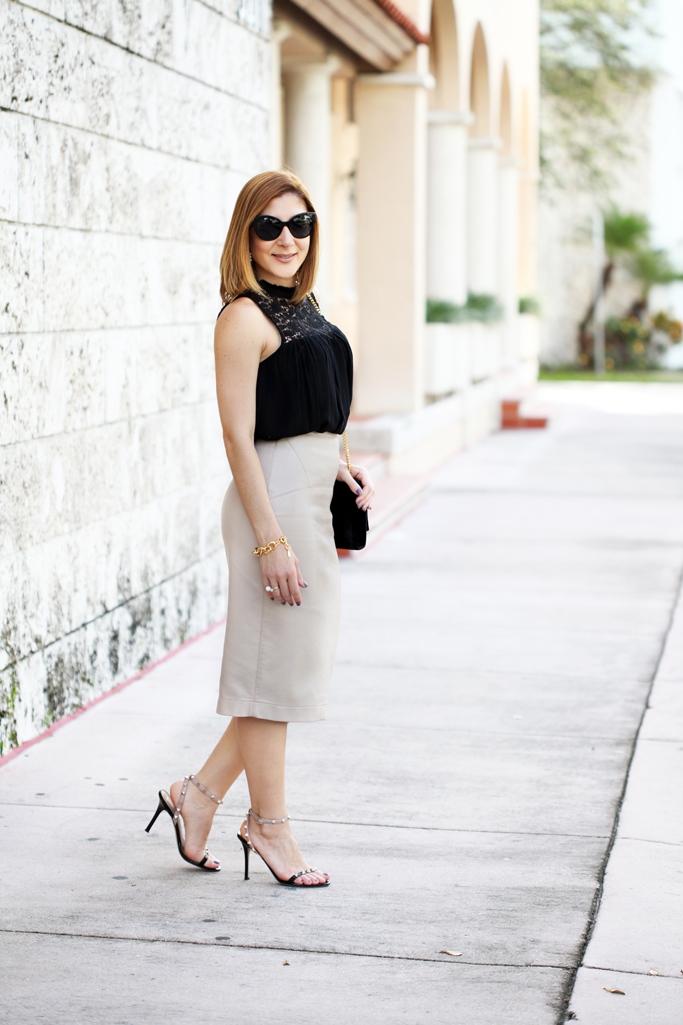 Blame-it-on-Mei-Miami-Fashion-Blogger-2016-High-Neck-Lace-Blouse-Faux-Leather-Pencil-Skirt-Valentino-Sandals-YSL-Velvet-Tassel-Date-Night-Outfit