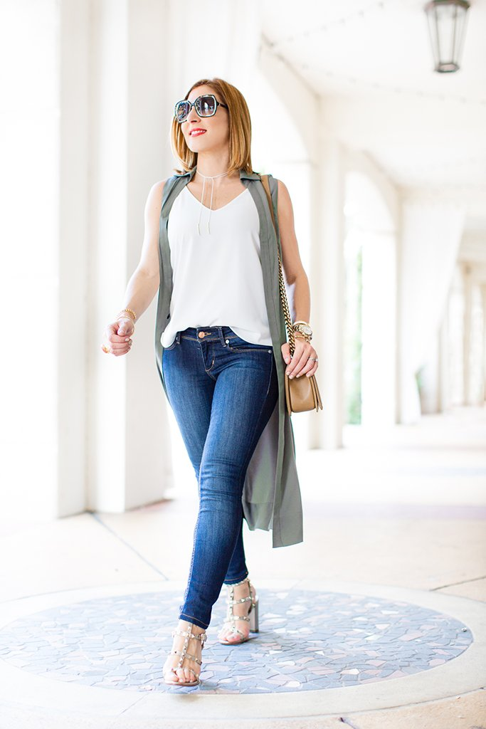 Blame-it-on-Mei-Miami-Fashion-Blogger-2016-Army-Green-Long-Sleeveless-Duster-Olive-Green-Long-Vest-with-Jeans-White-Choker-Valentino-Rockstud-Metallic-City-Sandals-Chanel-Boy