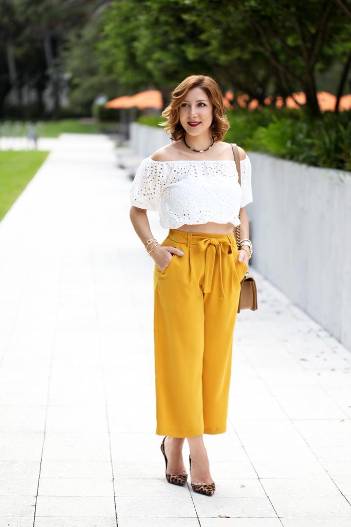 Blame-it-on-Mei-Miami-Fashion-Blogger-2016-Elegant-Look-Date-Nigt-Outfit-Choker-Shoulder-Crochet-Top-Mustard-Yellow-Culottes-Waves-on-Short-Hair-Louboutin-Leopard-Heels-Chanel-Boy