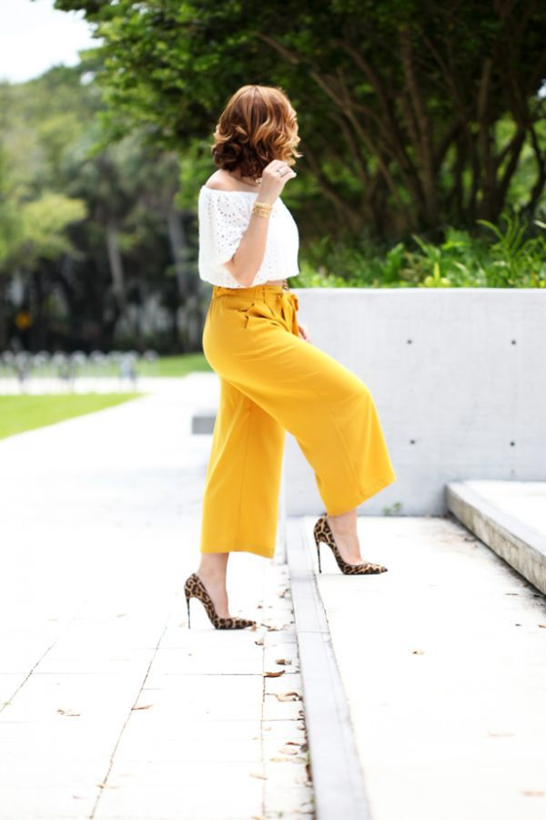 Blame-it-on-Mei-Miami-Fashion-Blogger-2016-Elegant-Look-Date-Nigt-Outfit-Choker-Shoulder-Crochet-Top-Mustard-Yellow-Culottes-Waves-on-Short-Hair-Louboutin-Leopard-Heels-Chanel-Boy