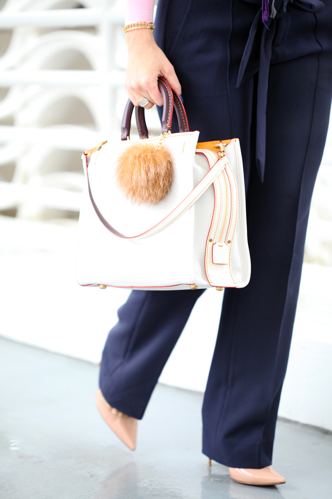 Blame-it-on-Mei-Miami-Fashion-Blogger-2016-Pink-Sweater-Navy-Trousers-Banana-Republic-Chalk-Coach-Rogue-Handbag-Blanket-Scarf-Louboutin-Blush-Heels-Casual-Fall-Look