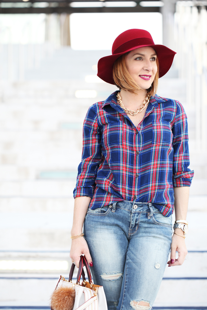 Blame-it-on-Mei-Miami-Fashion-Blogger-2016-Plaid-Long-Sleeve-Distressed-Denim-Jeans-Mules-Coach-Rogue-Red-Hat-Casual-Fall-Oufit-Autumn-Look