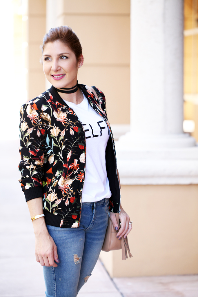 Blame-it-on-Mei-Miami-Fashion-Blogger-2016-Casual-Look-Relaxed-Outfit-Black-Friday-Floral-Bomber-Jacket-How-to-Style-Chanel-Espadrilles-with-Destroyed-Jeans-Graphic-Shirt