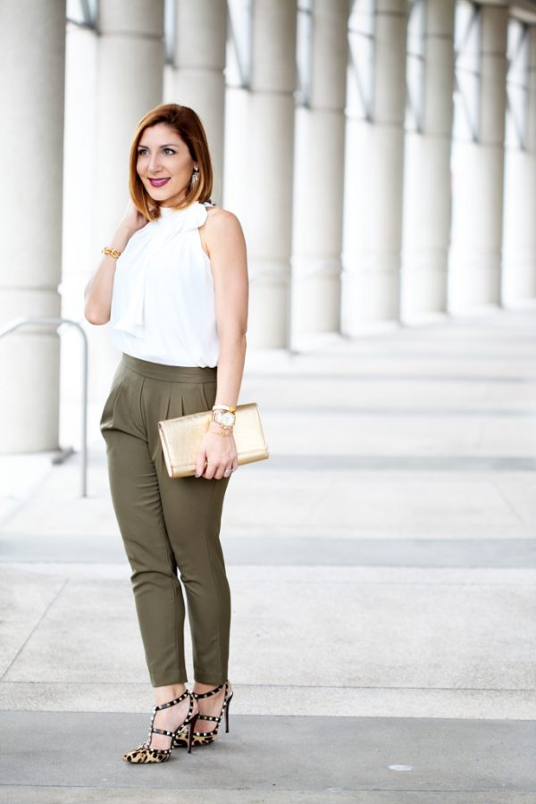 Blame-it-on-Mei-Miami-Fashion-Blogger-2016-Olive-Green-Trousers-White-Blouse-with-Bow-Gold-LV-Clutch-Leopard-Sandals-Valentino-Rockstud