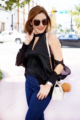 Blame-it-on-Mei-Miami-Fashion-Beauty-Blogger-2016-Geneva-Naturals-Brunch-Affordable-Luxury-Skincare-DOA-Cantina-Miami-Beach-Chocker-Blouse-Long-Sheer-Sleeve-Gucci-White-Marmont-Matelasse-Flare-Jeans