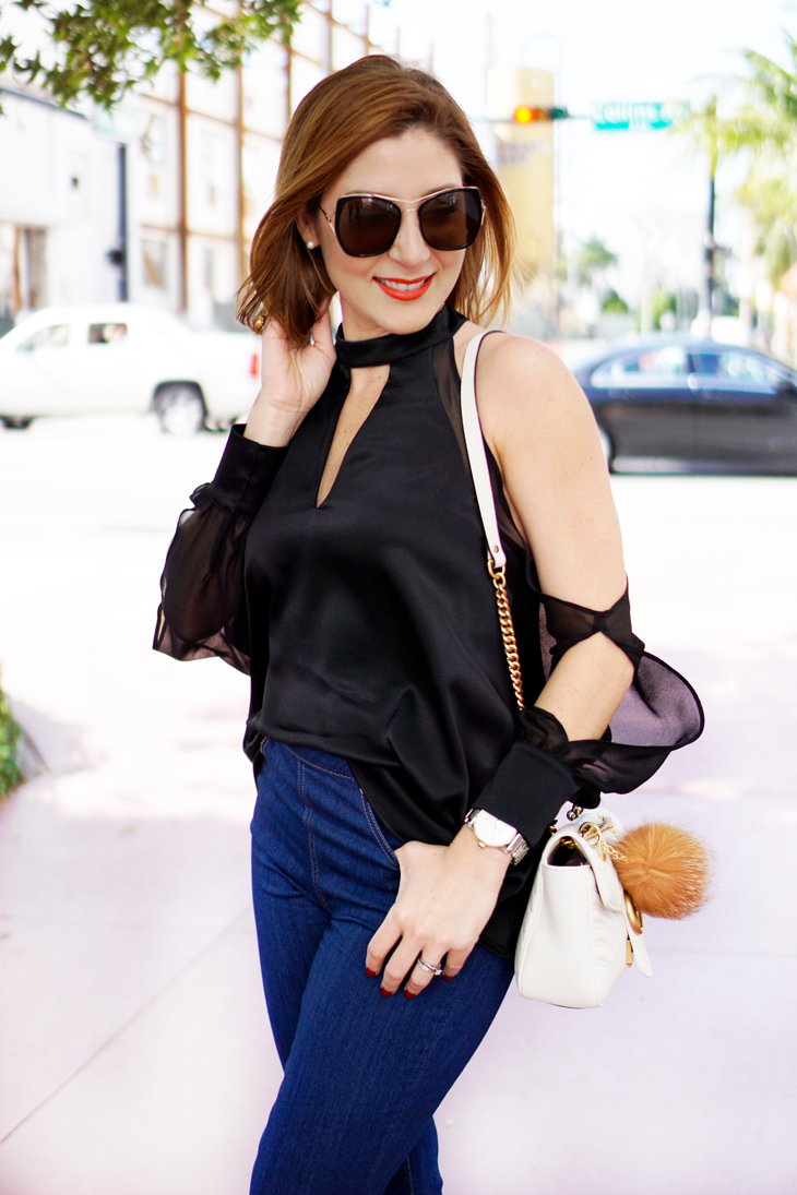 Blame-it-on-Mei-Miami-Fashion-Beauty-Blogger-2016-Geneva-Naturals-Brunch-DOA-Cantina-Miami-Beach-Chocker-Blouse-Long-Sheer-Sleeve-Gucci-White-Marmont-Matelasse-Flare-Jeans-