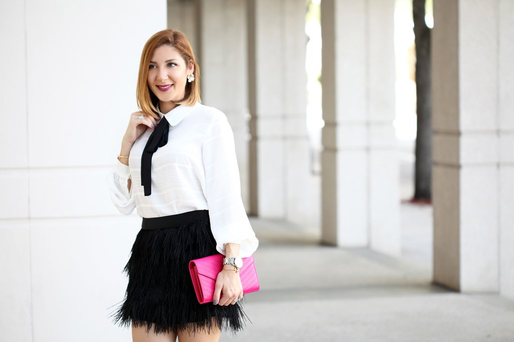 Blame-it-on-Mei-Miami-Fashion-Blogger-2016-Holiday-Look-Feather-Skirt-with-Bow-Tie-Blouse-Top-Louboutin-Black-Iriza-D'Orsay-Patent-Fucshia-YSL-Clutch-Xmas-Outfit