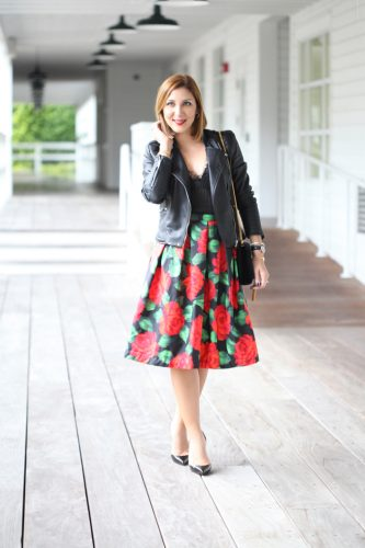 Blame-it-on-Mei-Miami-Fashion-Blogger-2016-Holiday-Look-Floral-Skirt-with-Black-Moto-Jacket-Lace-Top-Louboutin-Black-Iriza-DOrsay-Patent-YSL-Tassel-Xmas-Outfit