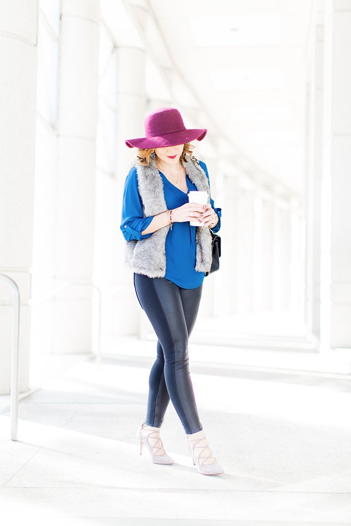 Blame-it-on-Mei-Miami-Fashion-Blogger-2016-Fall-Outfit-Faux-Fur-Jacket-Faux-Leather-Leggings-Felt-Floppy-Hat-Lace-Up-Gray-Sandals-Chanel-Classic-Black
